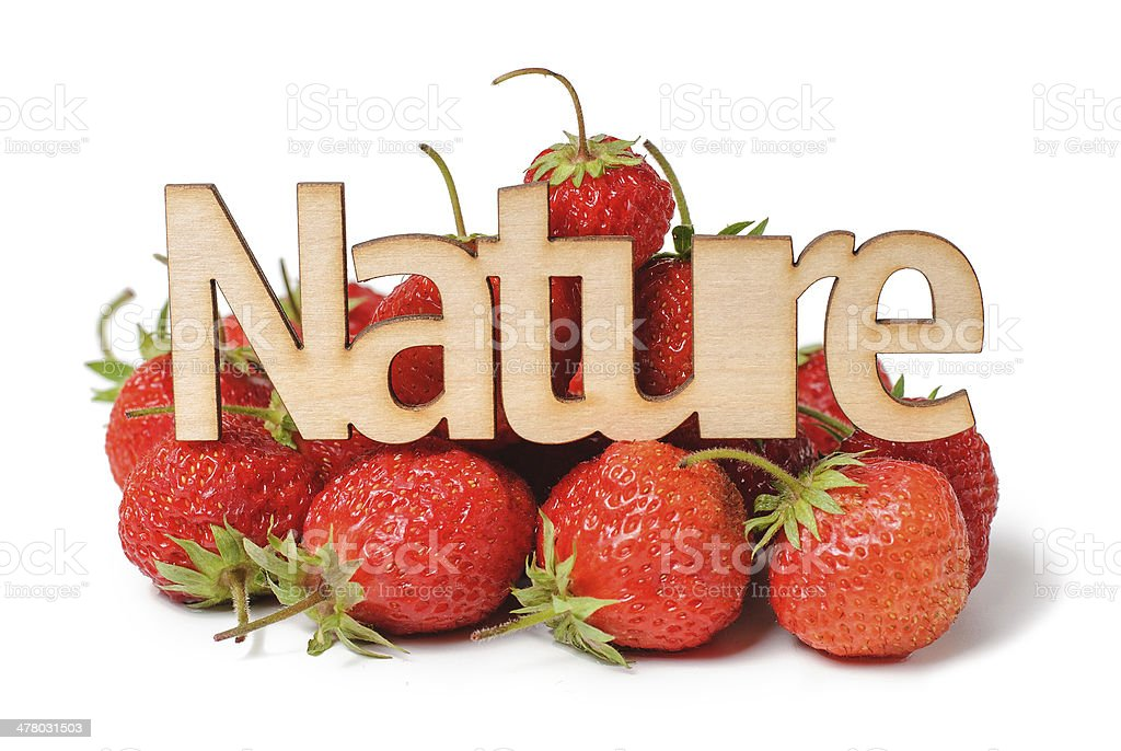 Nature Wooden sign with  strawberry royalty-free stock photo