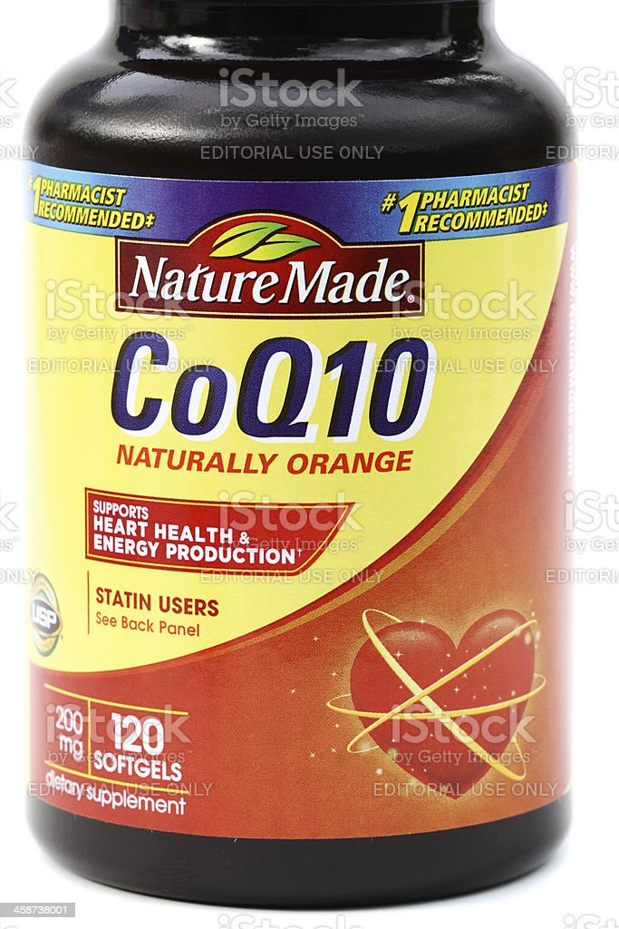 NatureMade CoQ10 Softgel dietary supplements stock photo