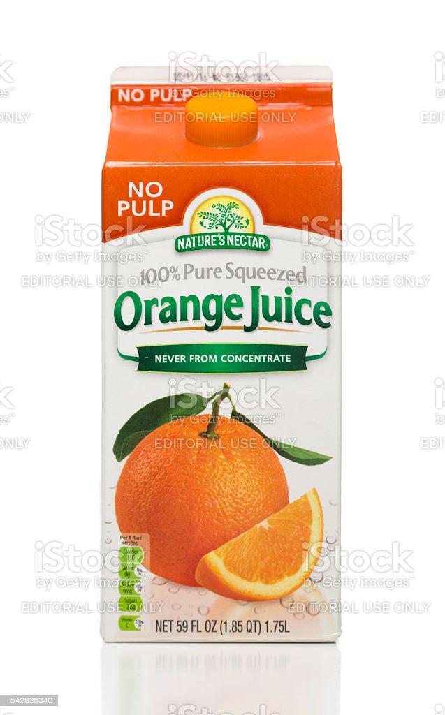Nature's Nectar pure squeezed orange juice carton stock photo