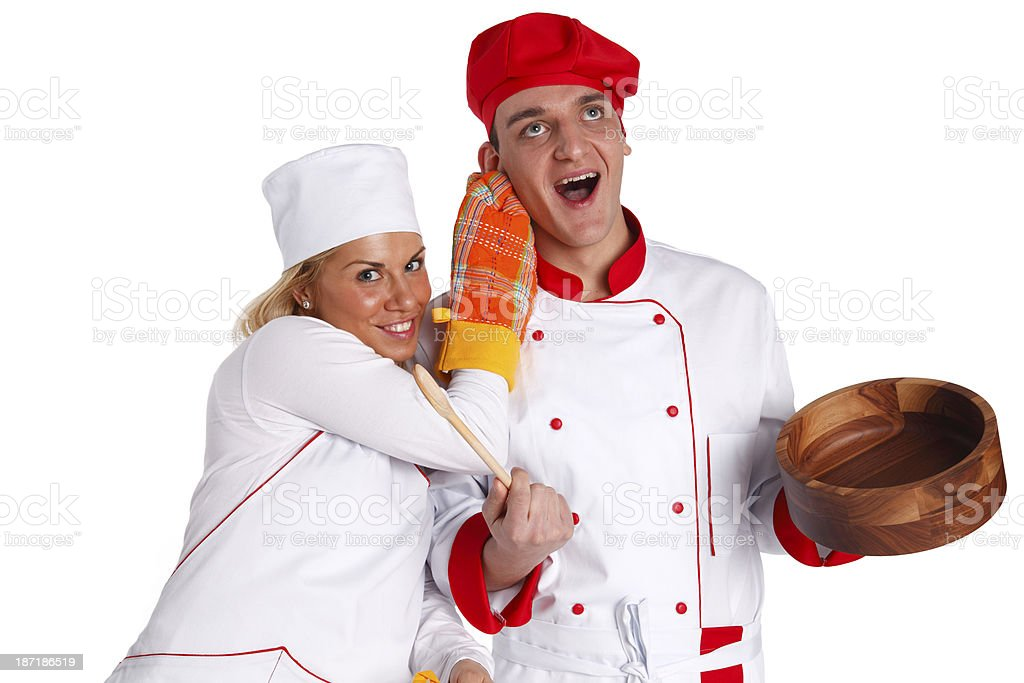Naughty chef stock photo