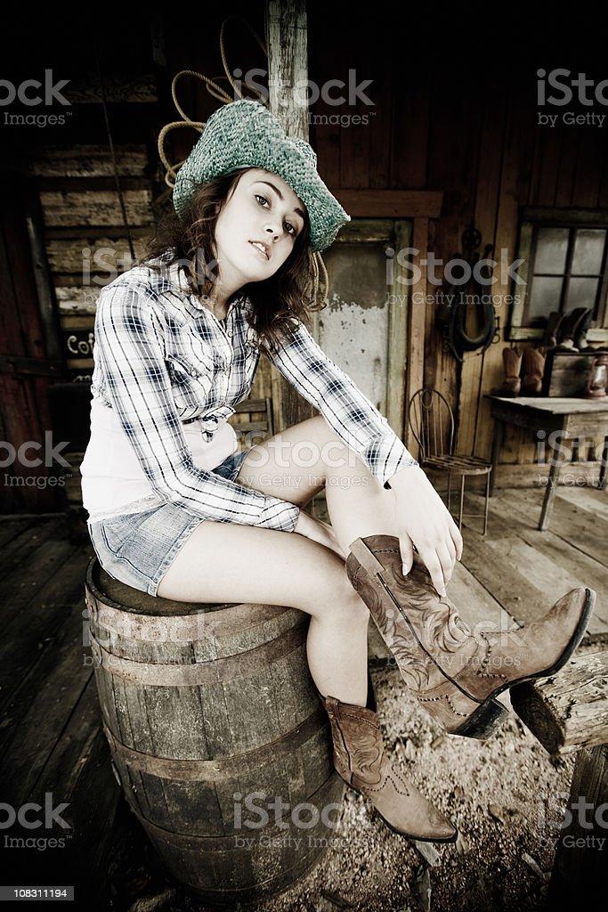 Naughty Cowgirl stock photo