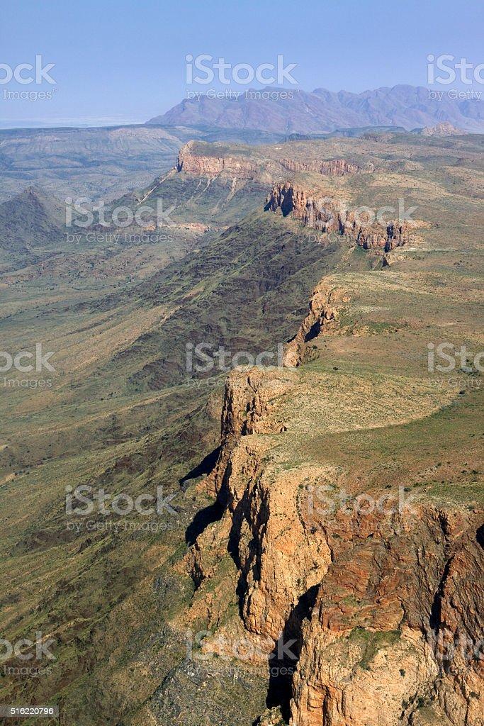 Naukluft Mountains cliffs and Namib Desert aerial Namibia stock photo