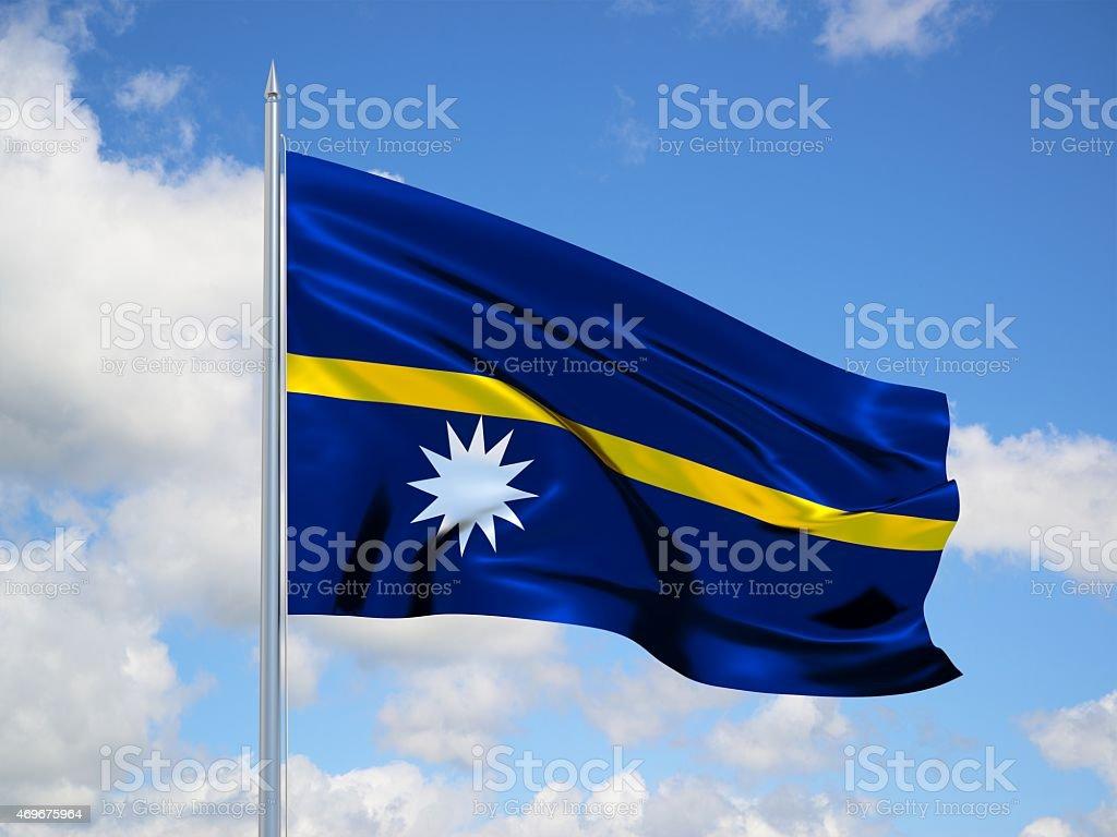Nauru 3d flag stock photo