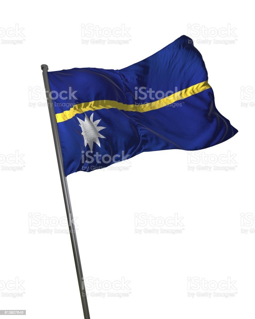 Nauru Flag Waving Isolated on White Background Portrait stock photo