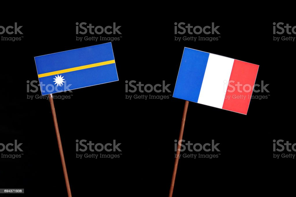 Nauru flag with French flag isolated on black background stock photo