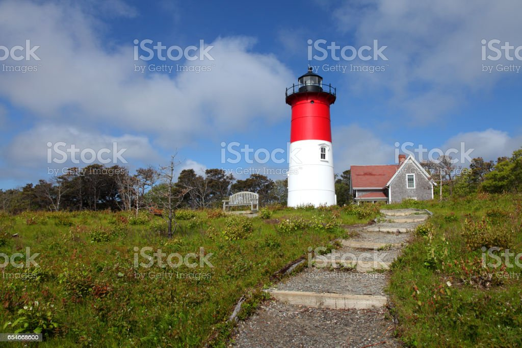 Nauset Beach Lighthouse on Cape Cod stock photo