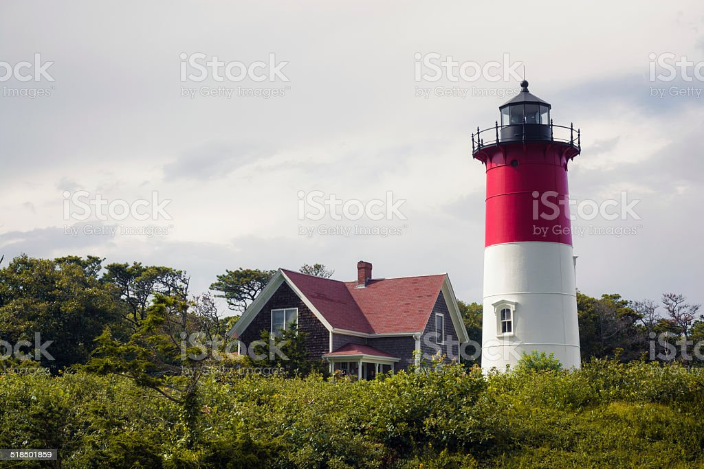 Nauset Lighthouse along Cape Cod in Massachusetts stock photo