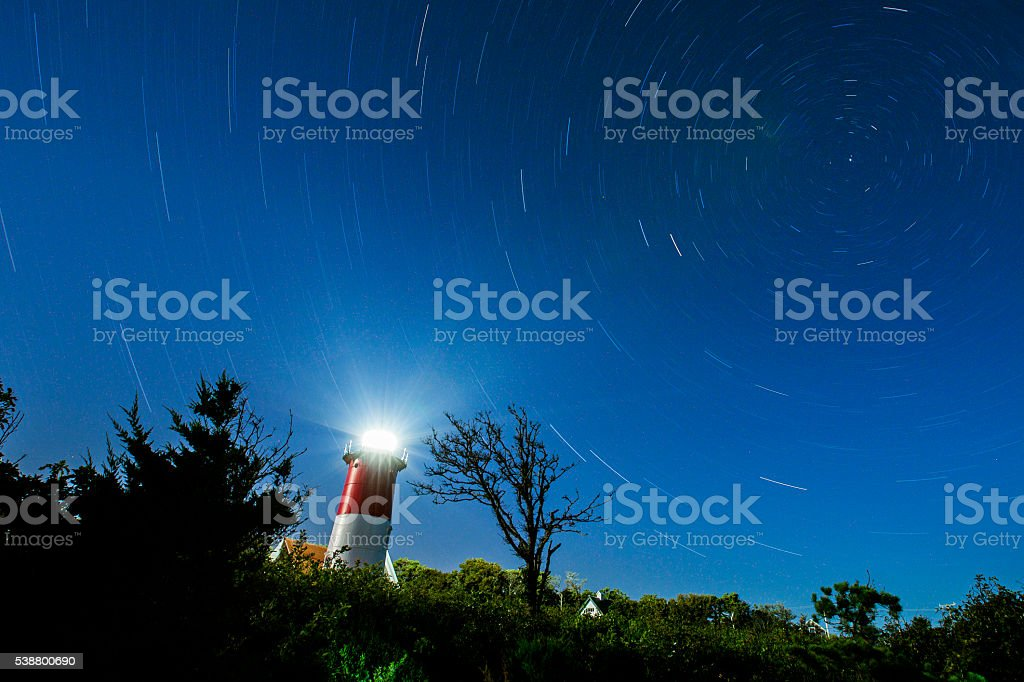 Nauset Lighthouse starstrail stock photo