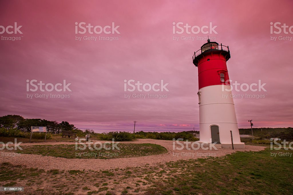 Nauset Lighthouse sunset stock photo