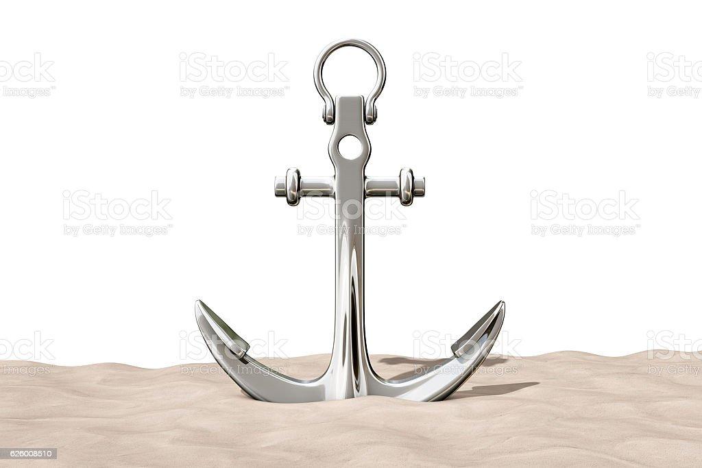 Nautical Anchor on the Sand Sunny Beach. 3d Rendering stock photo