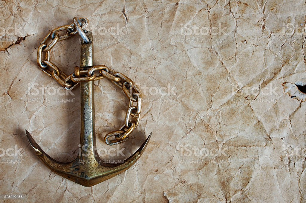 Nautical background with anchor stock photo