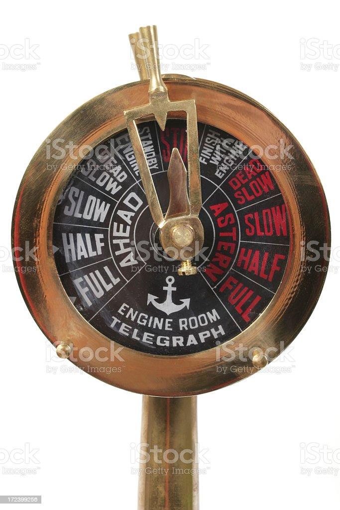 Nautical Brass Ship's Engine Telegraph stock photo