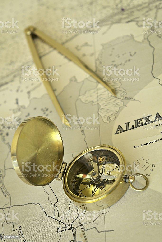 Nautical Chart and Compass stock photo
