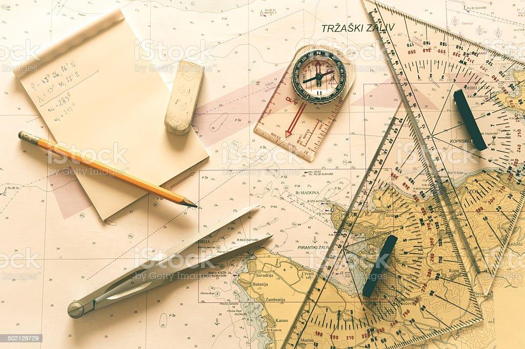 Nautical chart II stock photo