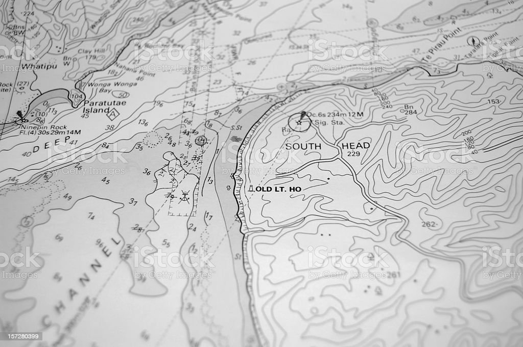 Nautical Chart of a South Pacific Island royalty-free stock photo