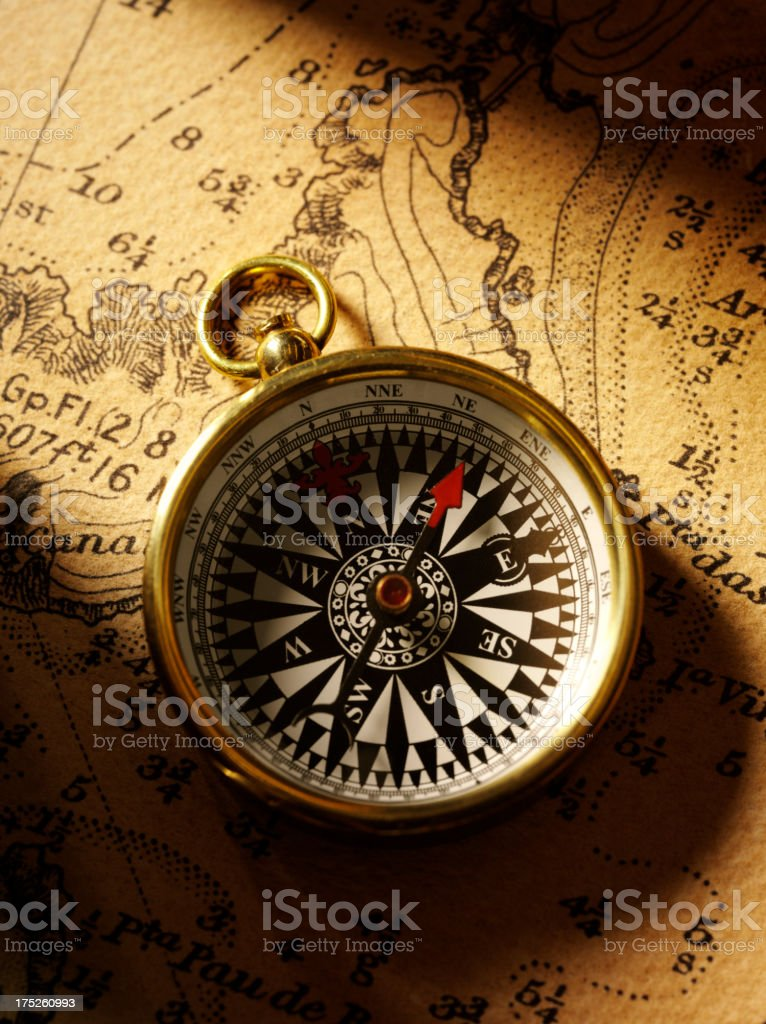 Nautical Chart with a Brass Compass royalty-free stock photo