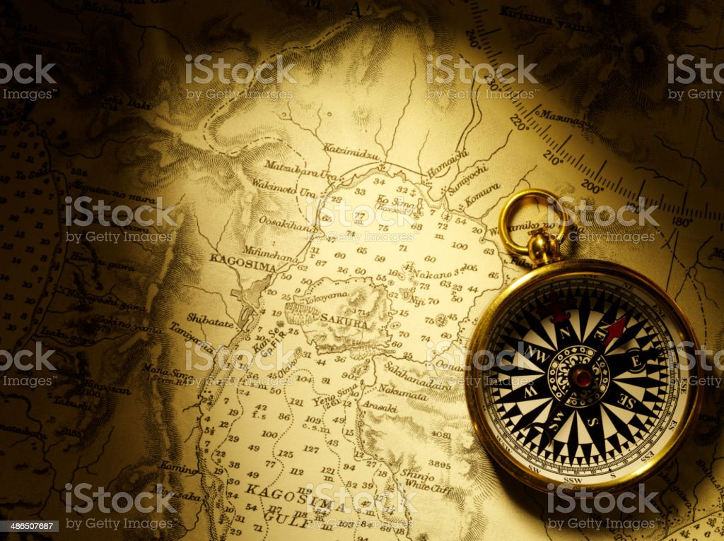 Nautical Chart with a Compass for Direction stock photo