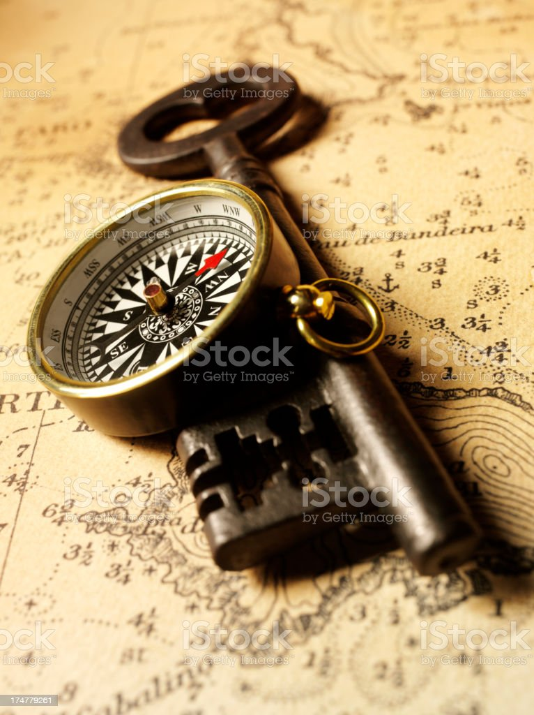 Nautical Chart with Church Key and Compass royalty-free stock photo