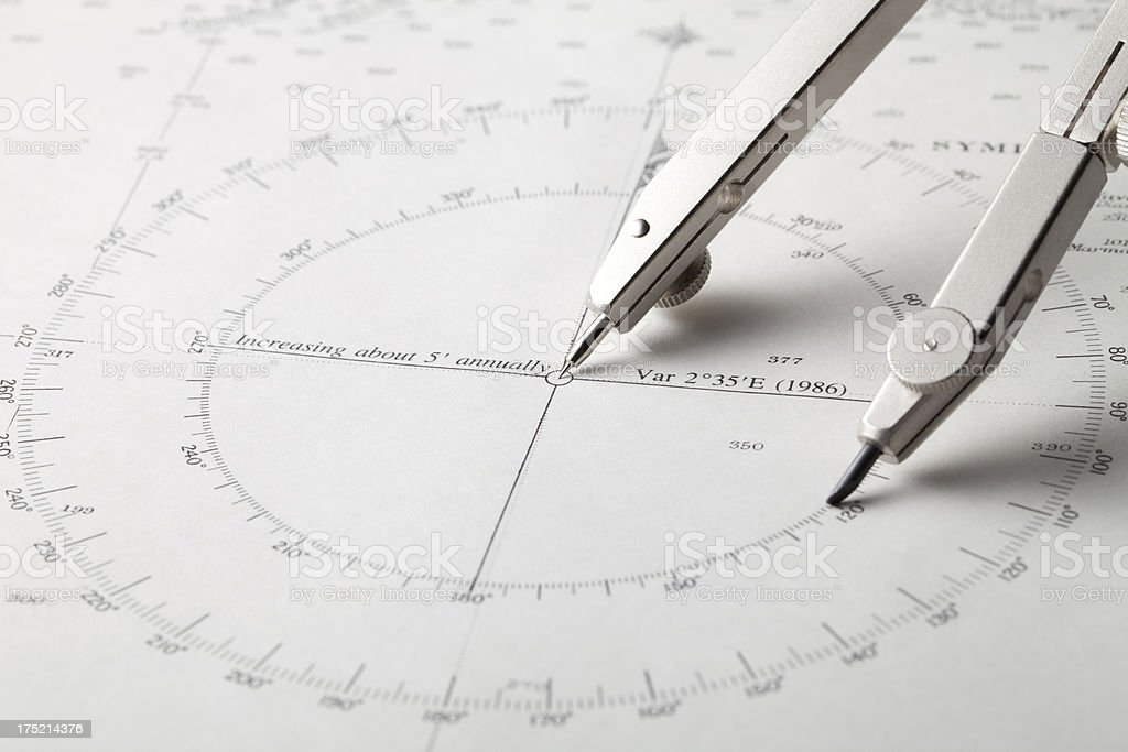 Nautical chart with compass stock photo