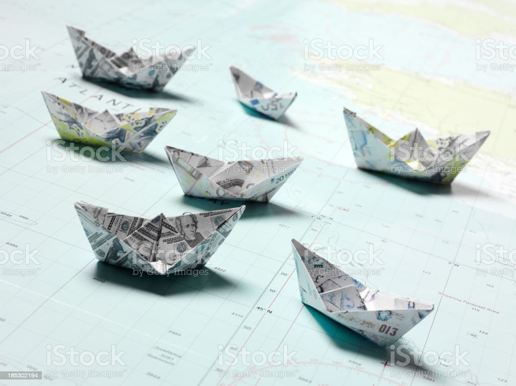 Nautical Chart with Origami Boats royalty-free stock photo