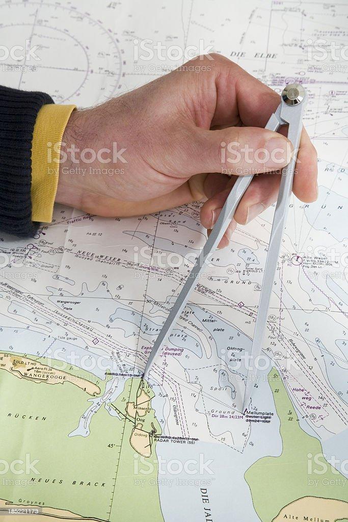 Nautical chart,magnetic compass stock photo