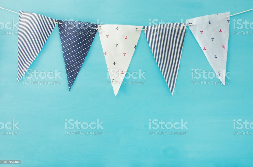 Nautical concept flags. Carnival and Birthday party background. stock photo
