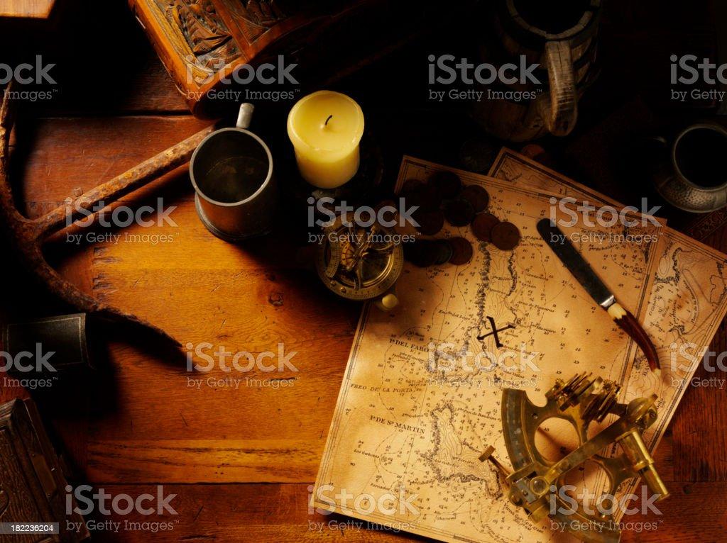 Nautical Equipment and Treasure Map royalty-free stock photo