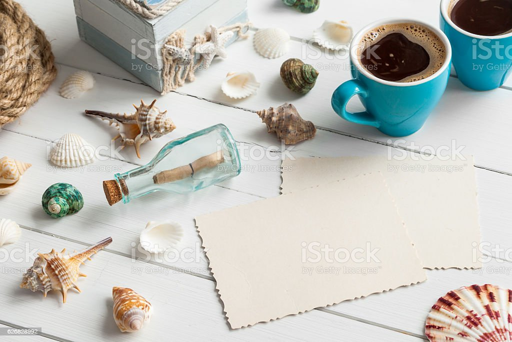 Nautical life style items, coffee and empty photo for inside. stock photo