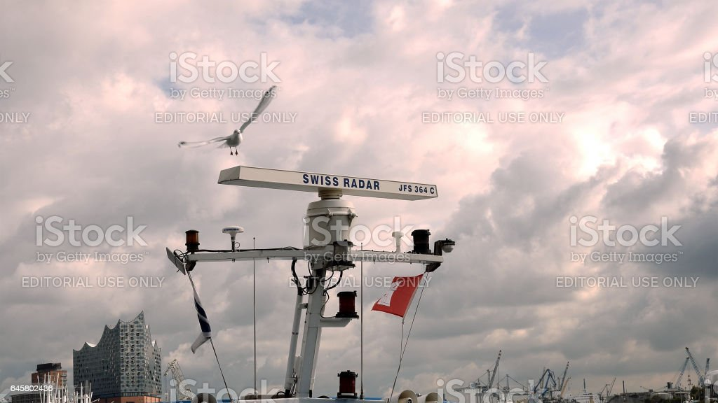 Nautical maritime radar with seagull at the port stock photo