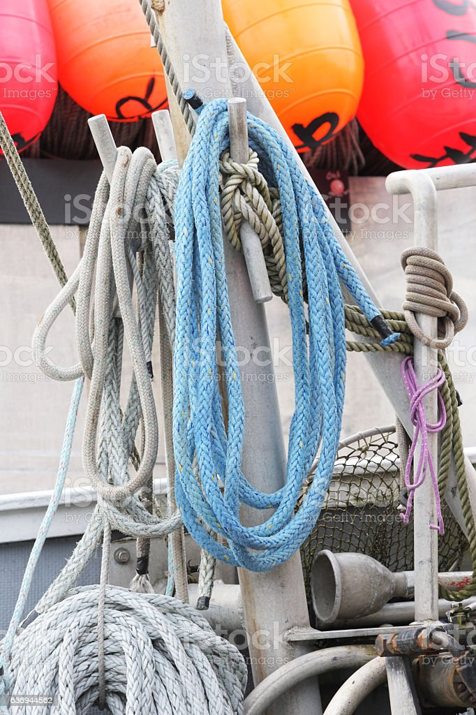 Nautical Rigging Ropes Buoys Fishing Trawler stock photo