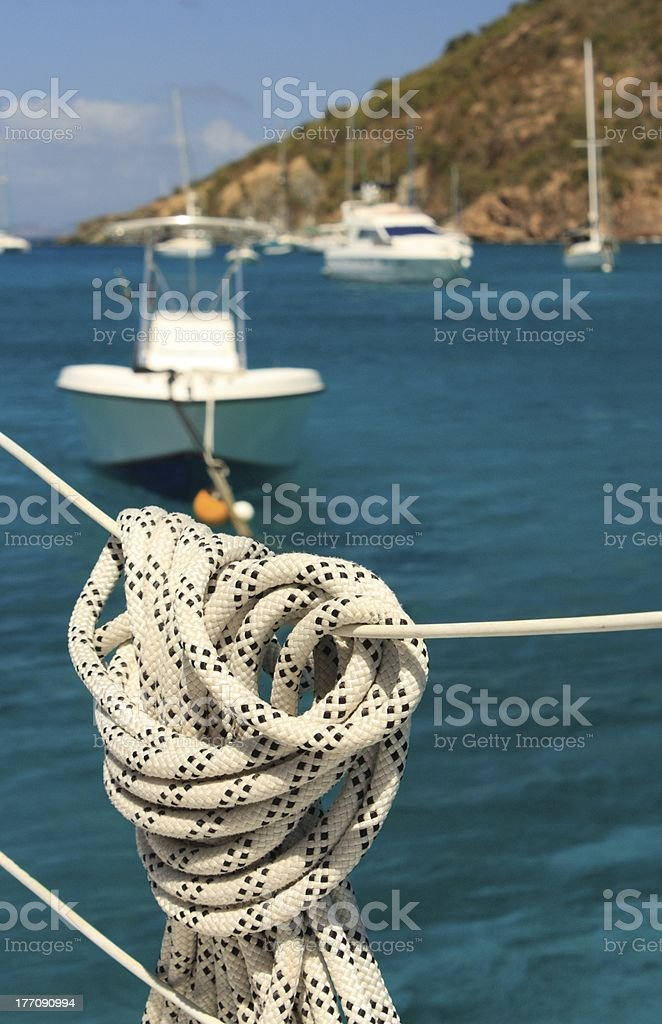 Nautical rope hanging on the sailboat. Detailed parts. royalty-free stock photo