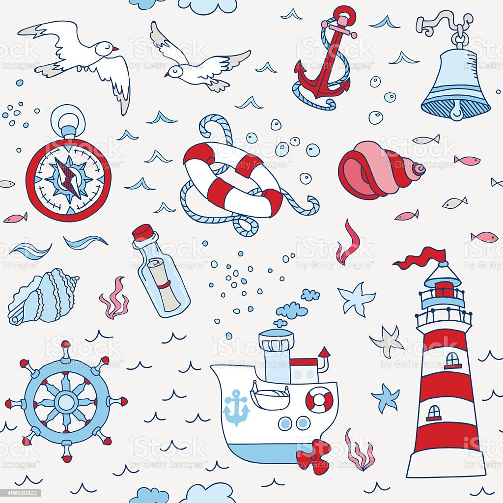 Nautical Sea Seamless Pattern - for scrapbook and design stock photo