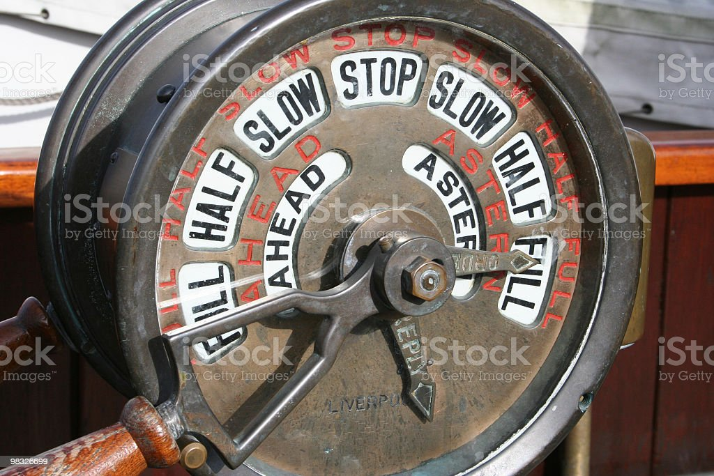 Nautical speed control on old sailing ship stock photo