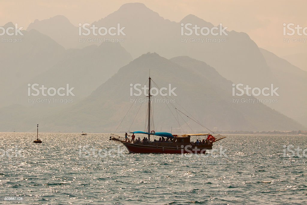 Nautical Vessel and Taurus Mountain stock photo