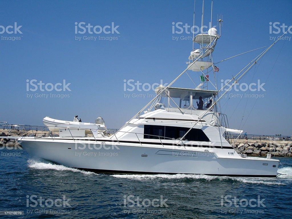 Nautical Vessel, Sport, Big Game Fishing Boat Antenna stock photo