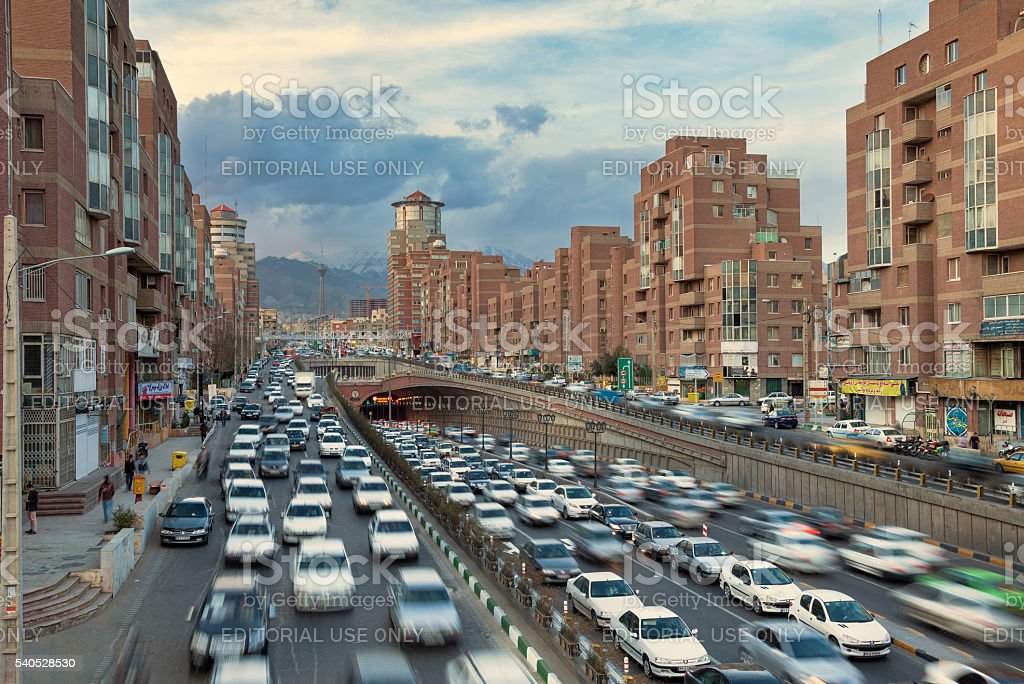 Navab Buildings and Tohid Tunnel in City of Tehran stock photo