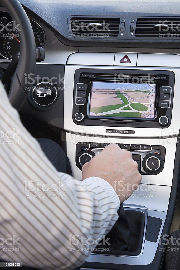 GPS navagation in luxury car stock photo