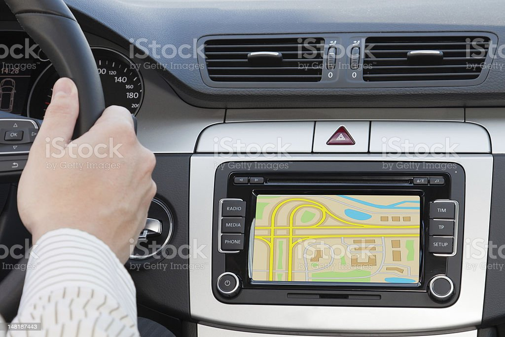 GPS navagation in modern car stock photo