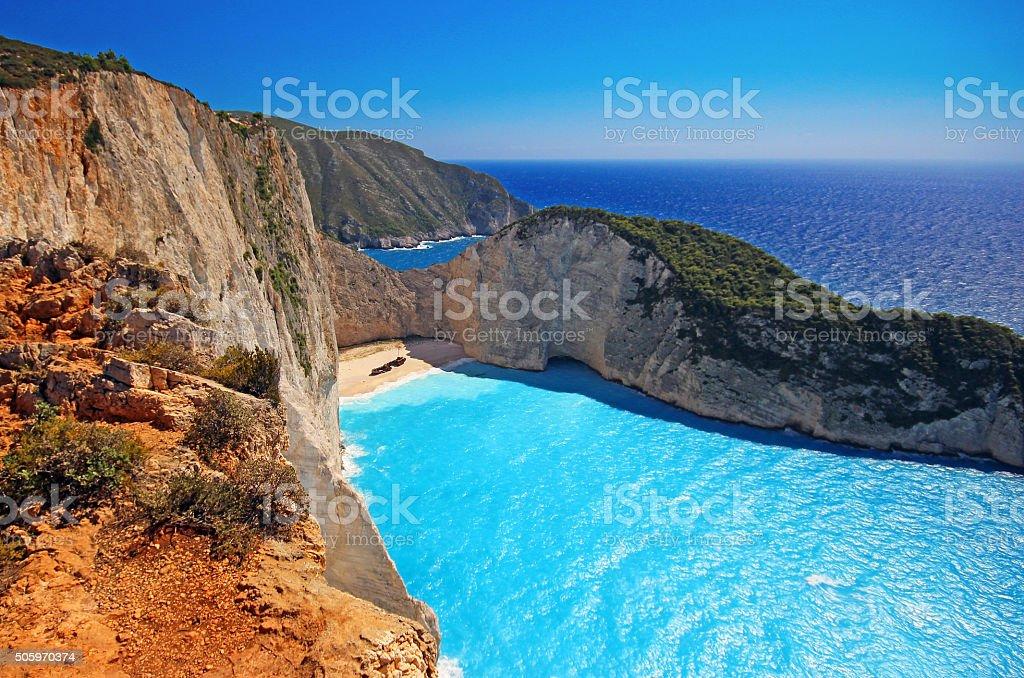 Navagio Beach (Shipwreck) on Zakynthos Island, Greece stock photo