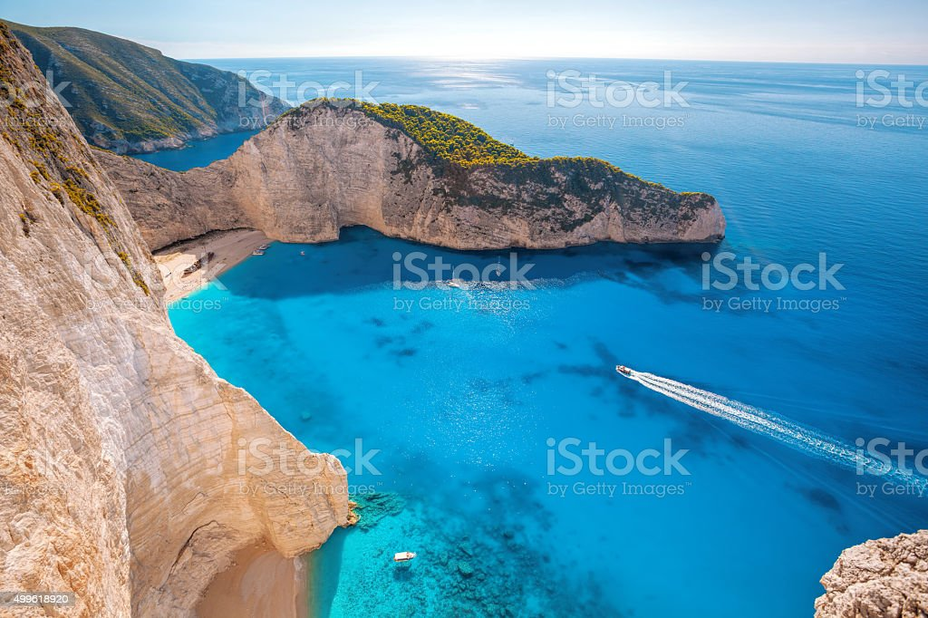Navagio beach with shipwreck on Zakynthos island in Greece stock photo