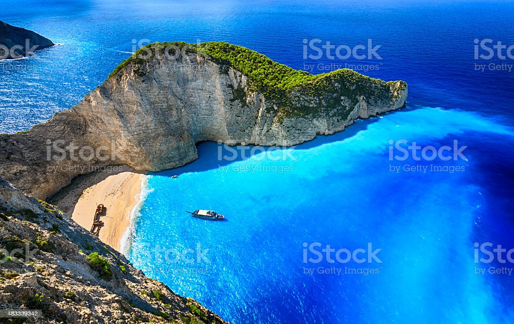 Navagio Beach (Shipwreck Beach), Zakynthos island, Greece. ProPhoto RGB. stock photo