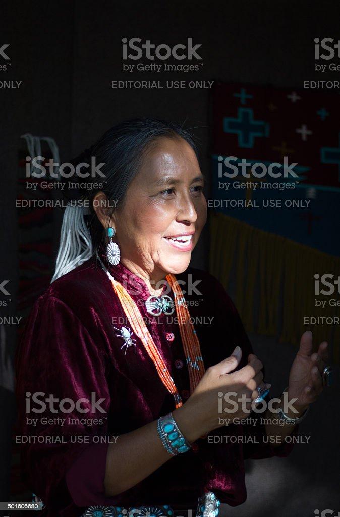 Navajo Blanket Weaver at the 2013 Santa Fe Indian Market stock photo