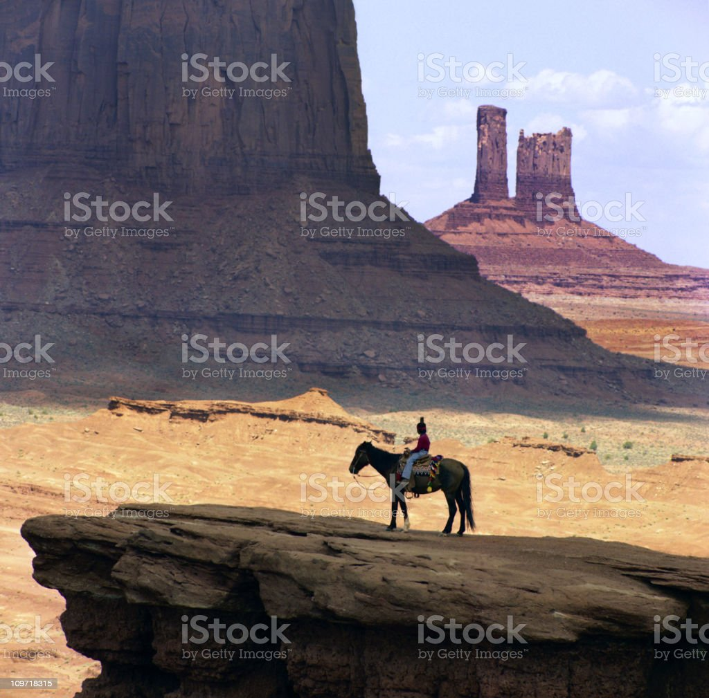 Navajo Boy on Horse in Monument Valley stock photo