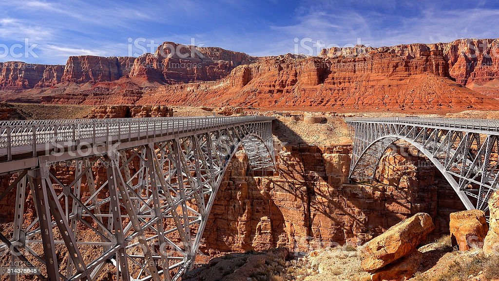 Navajo Bridge in Marble Canyon, Arizona stock photo