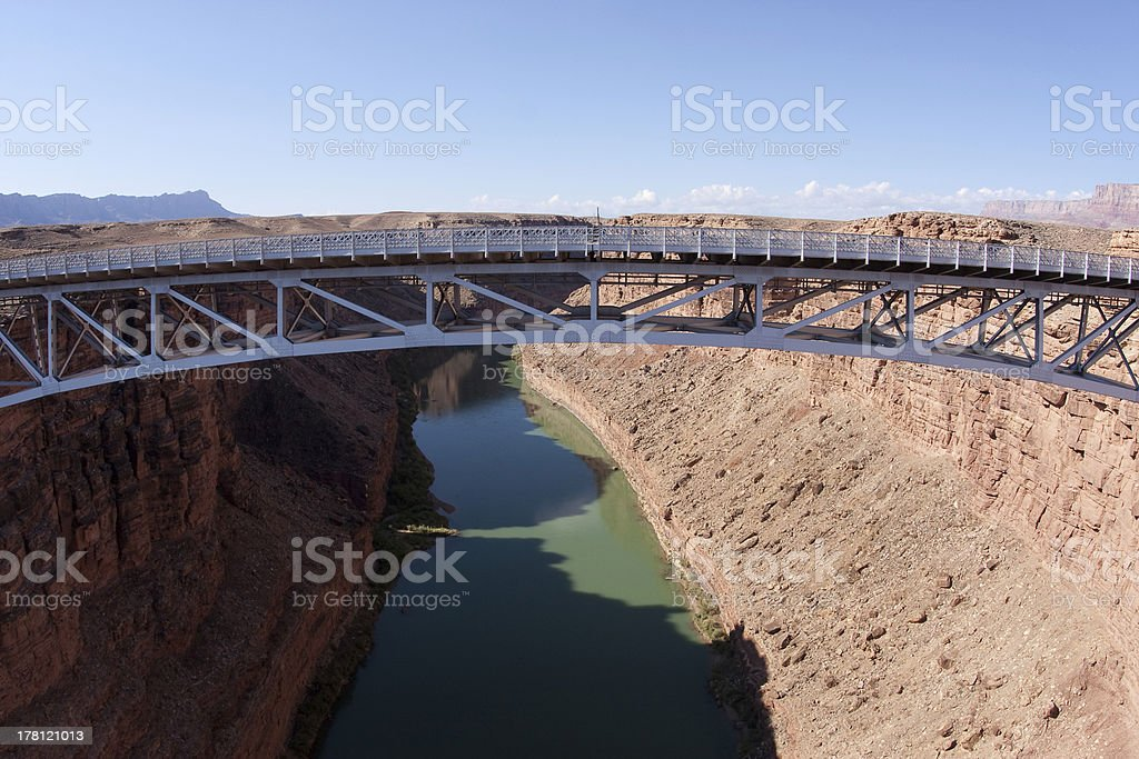 Navajo Bridge over Colorado River and Grand Canyon royalty-free stock photo