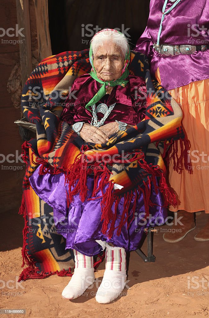 Navajo Elder in Bright Traditional Clothing royalty-free stock photo