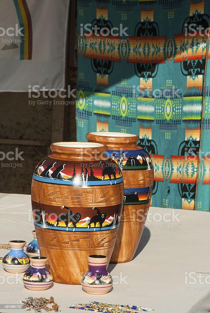 Navajo Rugs and Pottery at Tribal Park near Cameron Arizona stock photo
