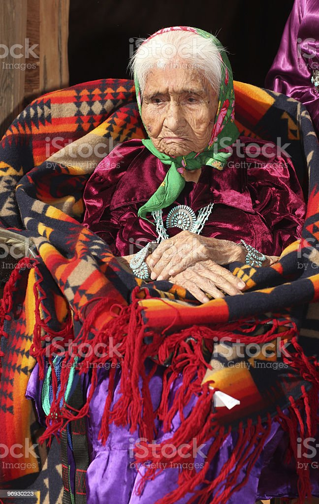 Navajo Woman Deep in Thought  stock photo