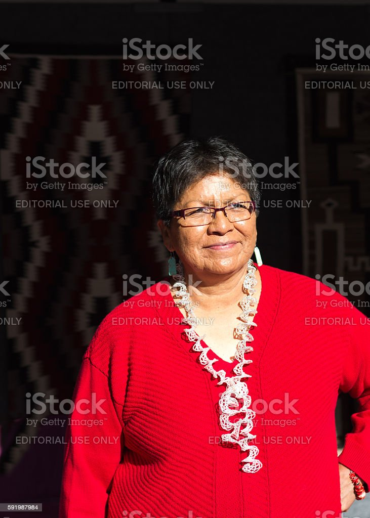 Navajo-Dine Weaver at the 2016 Santa Fe Indian Market stock photo