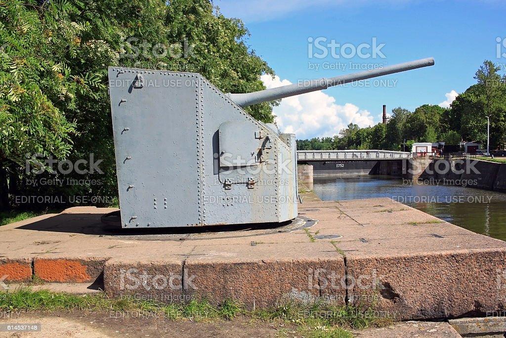 Naval artillery gun model 1941 stock photo